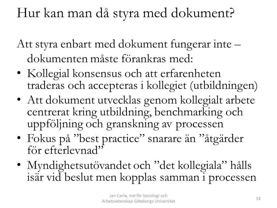 Hur kan man då styra med dokument? Att styra enbart med dokument fungerar inte – dokumenten måste förankras med: Kollegial konsensus och att erfarenhe