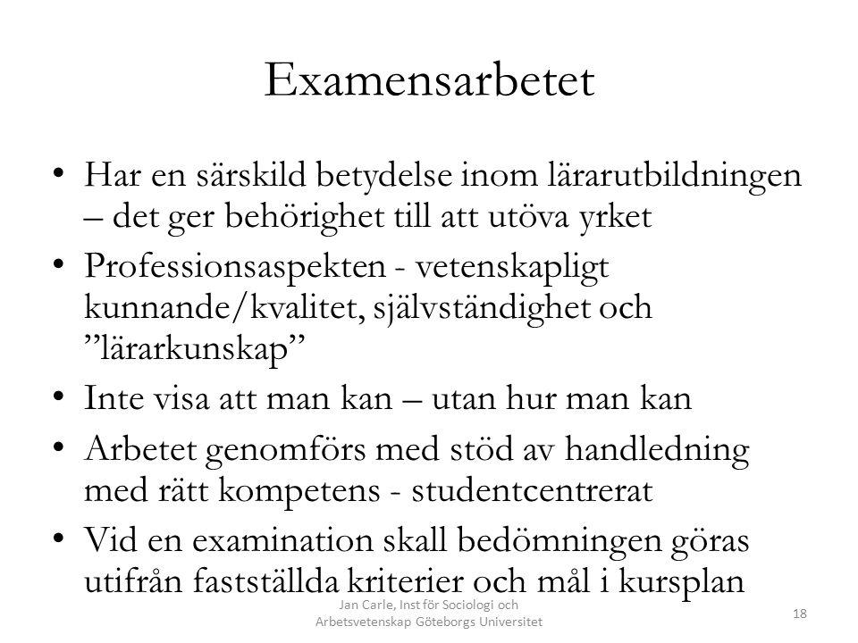 Jan Carle, Inst för Sociologi och Arbetsvetenskap Göteborgs Universitet 18 Examensarbetet Har en särskild betydelse inom lärarutbildningen – det ger b