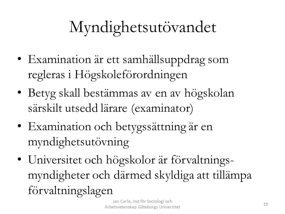 Jan Carle, Inst för Sociologi och Arbetsvetenskap Göteborgs Universitet 19 Myndighetsutövandet Examination är ett samhällsuppdrag som regleras i Högskoleförordningen Betyg skall bestämmas av en av högskolan särskilt utsedd lärare (examinator) Examination och betygssättning är en myndighetsutövning Universitet och högskolor är förvaltnings- myndigheter och därmed skyldiga att tillämpa förvaltningslagen