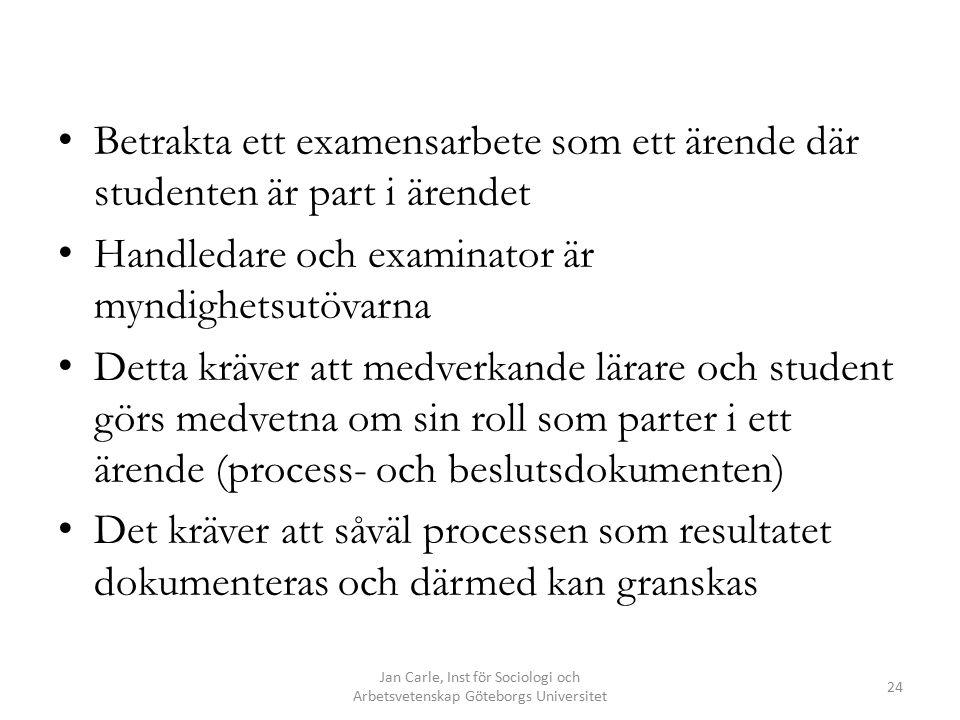 Jan Carle, Inst för Sociologi och Arbetsvetenskap Göteborgs Universitet 24 Betrakta ett examensarbete som ett ärende där studenten är part i ärendet Handledare och examinator är myndighetsutövarna Detta kräver att medverkande lärare och student görs medvetna om sin roll som parter i ett ärende (process- och beslutsdokumenten) Det kräver att såväl processen som resultatet dokumenteras och därmed kan granskas