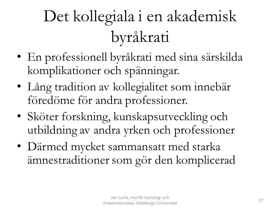 Det kollegiala i en akademisk byråkrati En professionell byråkrati med sina särskilda komplikationer och spänningar. Lång tradition av kollegialitet s