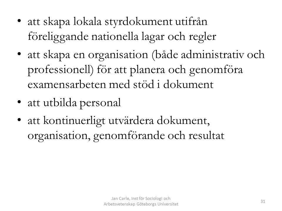 Jan Carle, Inst för Sociologi och Arbetsvetenskap Göteborgs Universitet 31 att skapa lokala styrdokument utifrån föreliggande nationella lagar och reg