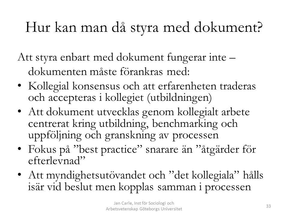 Jan Carle, Inst för Sociologi och Arbetsvetenskap Göteborgs Universitet 33 Hur kan man då styra med dokument? Att styra enbart med dokument fungerar i