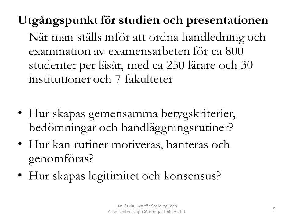 Jan Carle, Inst för Sociologi och Arbetsvetenskap Göteborgs Universitet 26 Aspekter av autonomi ett centralt krav Bedömningar är ett mycket vanligt och ansvarsfullt inslag i professionellt arbete.
