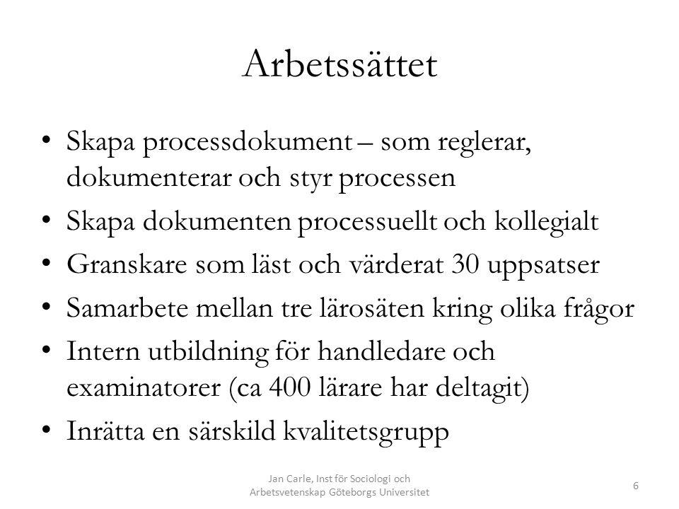 Instruktioner till examinator Jan Carle, Inst för Sociologi och Arbetsvetenskap Göteborgs Universitet 7