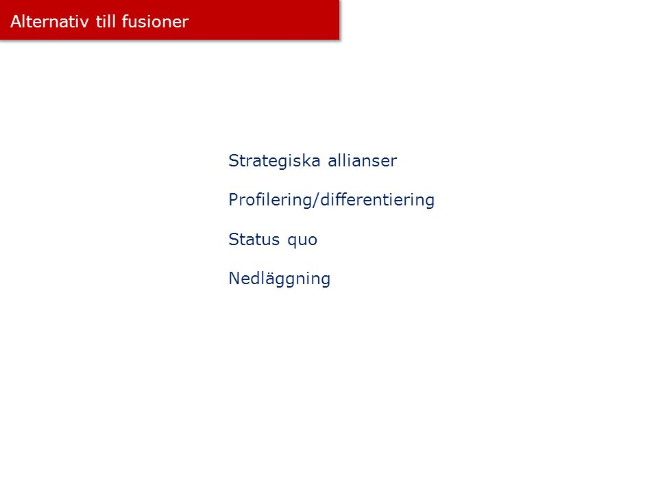Alternativ till fusioner Strategiska allianser Profilering/differentiering Status quo Nedläggning