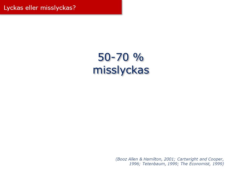 50-70 % misslyckas Lyckas eller misslyckas? (Booz Allen & Hamilton, 2001; Cartwright and Cooper, 1996; Tetenbaum, 1999; The Economist, 1999)