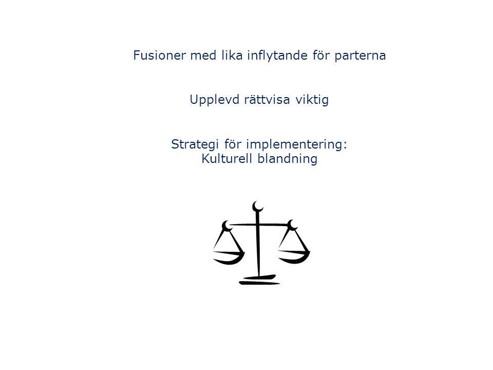 Fusioner med lika inflytande för parterna Upplevd rättvisa viktig Strategi för implementering: Kulturell blandning