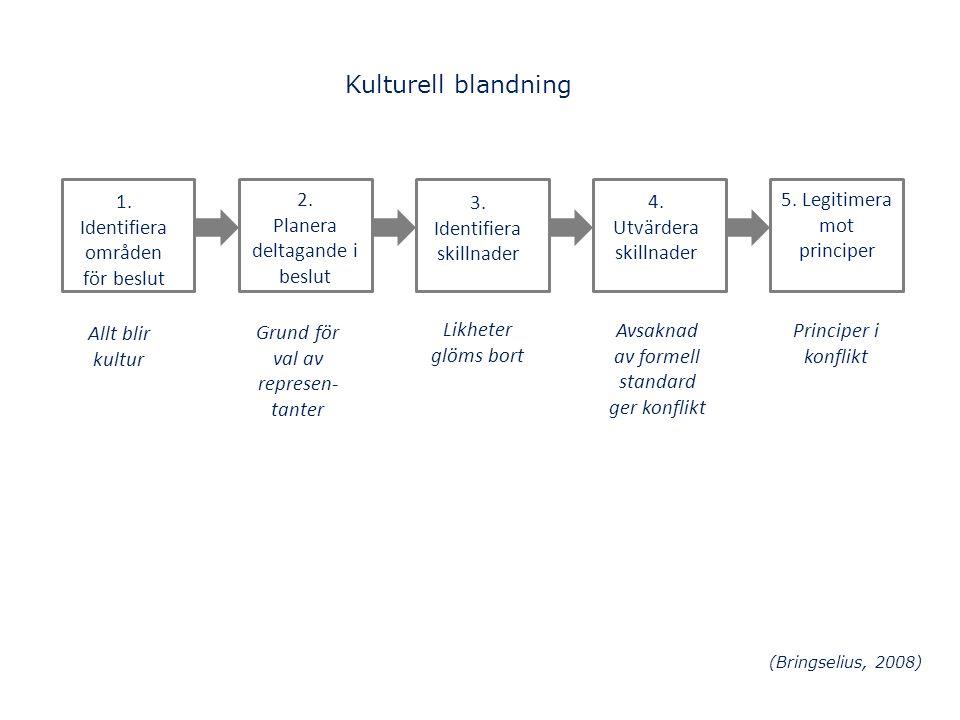 Kulturell blandning 1. Identifiera områden för beslut Allt blir kultur 2. Planera deltagande i beslut Grund för val av represen- tanter 3. Identifiera