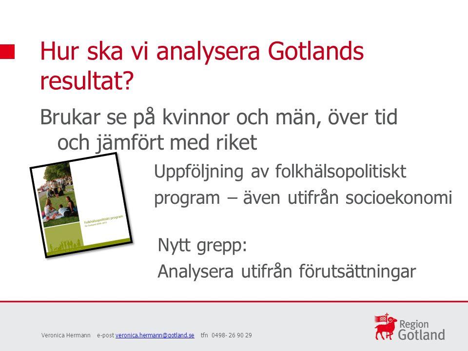 Brukar se på kvinnor och män, över tid och jämfört med riket Hur ska vi analysera Gotlands resultat.