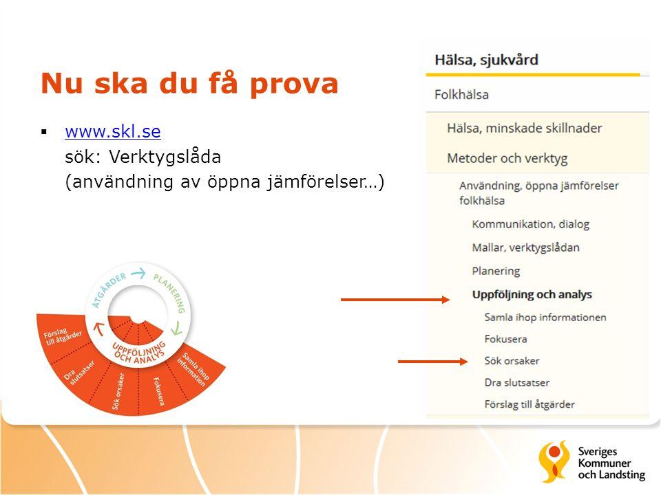 Nu ska du få prova  www.skl.se sök: Verktygslåda (användning av öppna jämförelser…) www.skl.se