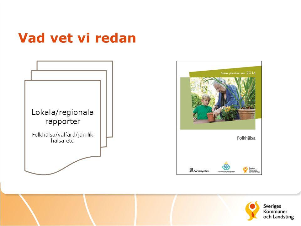 Vad vet vi redan Lokala/regionala rapporter Folkhälsa/välfärd/jämlik hälsa etc