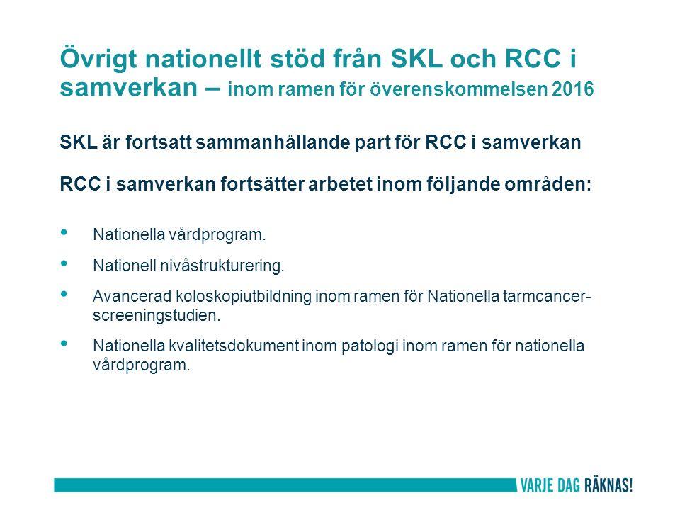 Övrigt nationellt stöd från SKL och RCC i samverkan – inom ramen för överenskommelsen 2016 SKL är fortsatt sammanhållande part för RCC i samverkan RCC i samverkan fortsätter arbetet inom följande områden: Nationella vårdprogram.