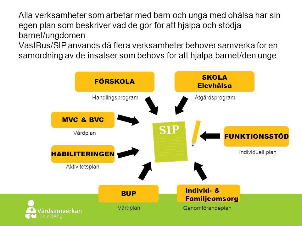 Skaraborgs Sjukhus Aktivitetsplan Genomförandeplan Vårdplan Handlingsprogram MVC & BVC HABILITERINGEN BUP Individ- & Familjeomsorg FÖRSKOLA Individuell plan FUNKTIONSSTÖD Åtgärdsprogram SKOLA Elevhälsa Alla verksamheter som arbetar med barn och unga med ohälsa har sin egen plan som beskriver vad de gör för att hjälpa och stödja barnet/ungdomen.