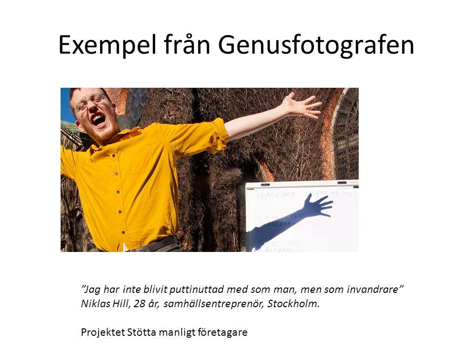 Exempel från Genusfotografen Jag har inte blivit puttinuttad med som man, men som invandrare Niklas Hill, 28 år, samhällsentreprenör, Stockholm.