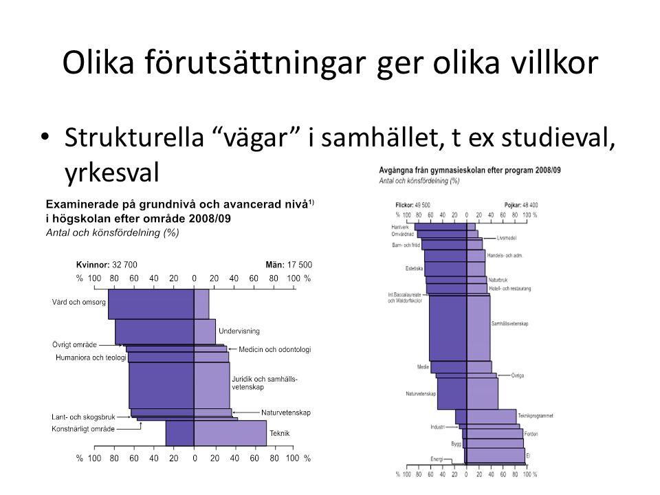Olika förutsättningar ger olika villkor Strukturella vägar i samhället, t ex studieval, yrkesval