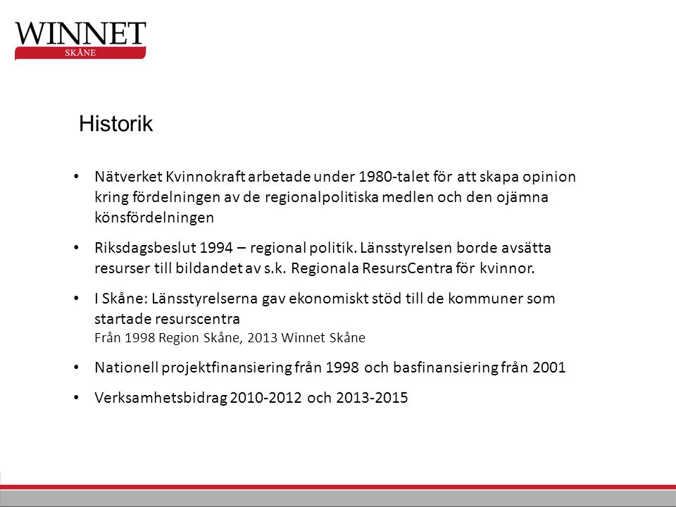 Offentliga initiativ Lokal Re gional Nationell Ideella initiativ TillväxtverketWinnet Sverige Region Skåne Winnet Skåne Regionalt ResursCentrum för kvinnor KommunLRC/Nätverk Winnet Europe
