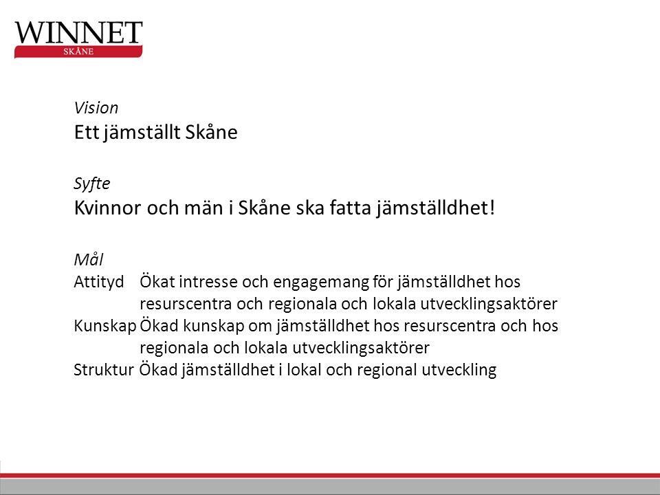 Vision Ett jämställt Skåne Syfte Kvinnor och män i Skåne ska fatta jämställdhet.