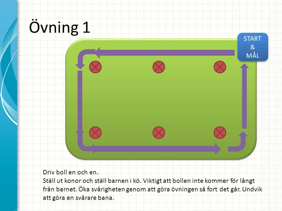 Övning 1 Driv boll en och en. Ställ ut konor och ställ barnen i kö. Viktigt att bollen inte kommer för långt från barnet. Öka svårigheten genom att gö