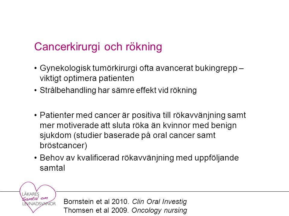 Cancerkirurgi och rökning Gynekologisk tumörkirurgi ofta avancerat bukingrepp – viktigt optimera patienten Strålbehandling har sämre effekt vid rökning Patienter med cancer är positiva till rökavvänjning samt mer motiverade att sluta röka än kvinnor med benign sjukdom (studier baserade på oral cancer samt bröstcancer) Behov av kvalificerad rökavvänjning med uppföljande samtal Bornstein et al 2010.