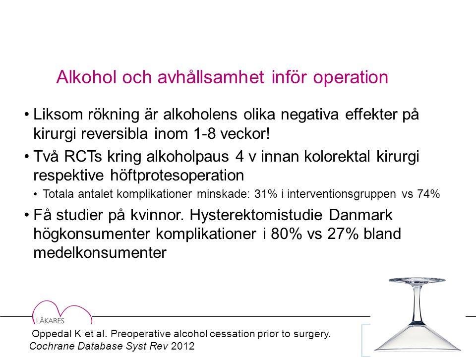 Alkohol och avhållsamhet inför operation Liksom rökning är alkoholens olika negativa effekter på kirurgi reversibla inom 1-8 veckor.