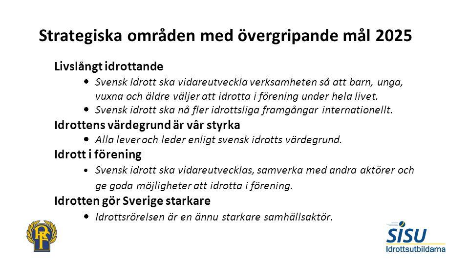 Strategiska områden med övergripande mål 2025 Livslångt idrottande  Svensk Idrott ska vidareutveckla verksamheten så att barn, unga, vuxna och äldre väljer att idrotta i förening under hela livet.