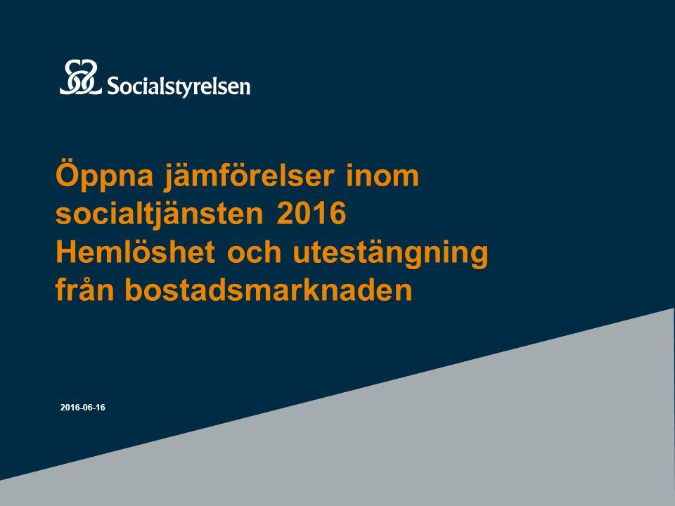 Öppna jämförelser inom socialtjänsten 2016 Hemlöshet och utestängning från bostadsmarknaden 2016-06-16