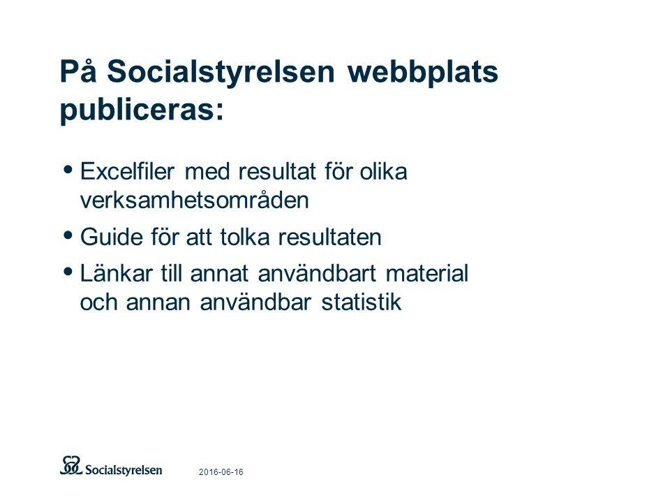 På Socialstyrelsen webbplats publiceras: 2016-06-16 Excelfiler med resultat för olika verksamhetsområden Guide för att tolka resultaten Länkar till annat användbart material och annan användbar statistik