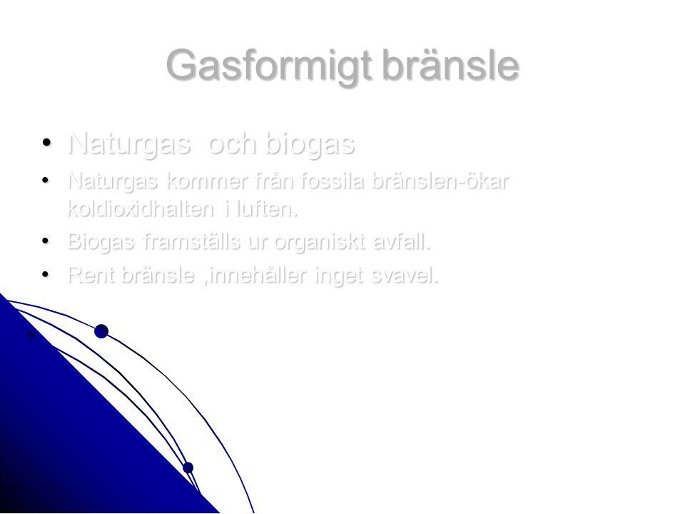 Gasformigt bränsle Naturgas och biogasNaturgas och biogas Naturgas kommer från fossila bränslen-ökar koldioxidhalten i luften.Naturgas kommer från fossila bränslen-ökar koldioxidhalten i luften.