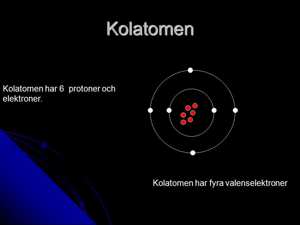Kolatomen Kolatomen har 6 protoner och elektroner. Kolatomen har fyra valenselektroner