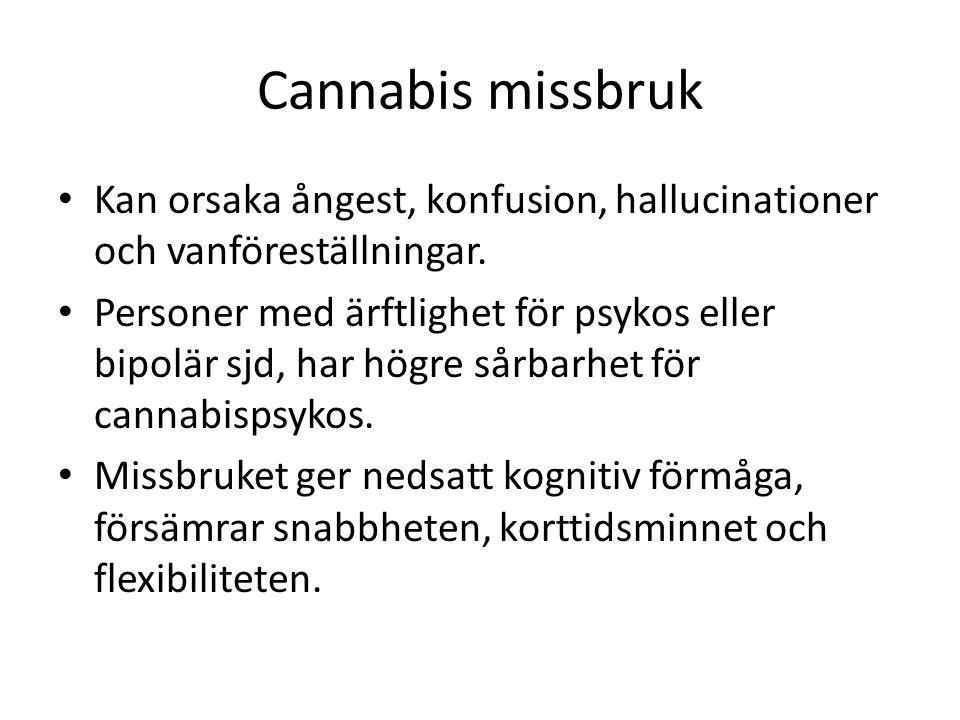 Cannabis missbruk Kan orsaka ångest, konfusion, hallucinationer och vanföreställningar.
