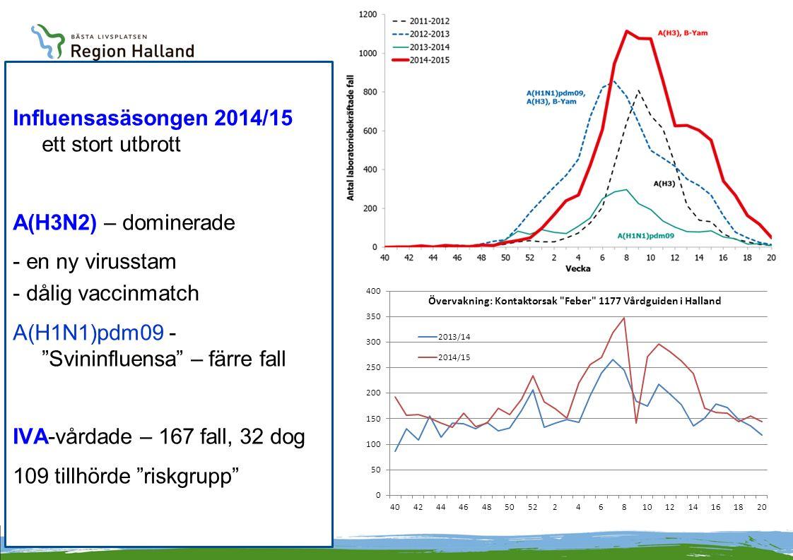 Influensasäsongen 2014/15 ett stort utbrott A(H3N2) – dominerade - en ny virusstam - dålig vaccinmatch A(H1N1)pdm09 - Svininfluensa – färre fall IVA-vårdade – 167 fall, 32 dog 109 tillhörde riskgrupp
