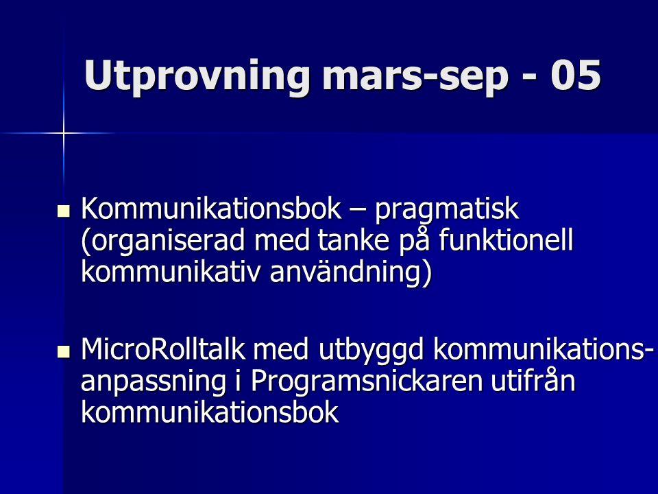 Utprovning mars-sep - 05 Kommunikationsbok – pragmatisk (organiserad med tanke på funktionell kommunikativ användning) Kommunikationsbok – pragmatisk