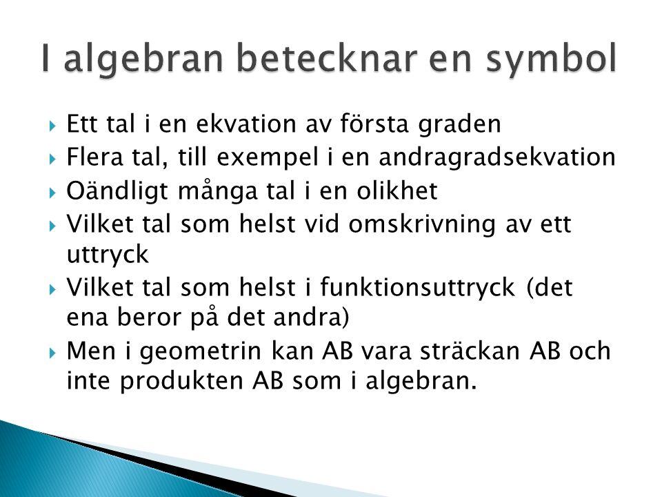  Ett tal i en ekvation av första graden  Flera tal, till exempel i en andragradsekvation  Oändligt många tal i en olikhet  Vilket tal som helst vid omskrivning av ett uttryck  Vilket tal som helst i funktionsuttryck (det ena beror på det andra)  Men i geometrin kan AB vara sträckan AB och inte produkten AB som i algebran.