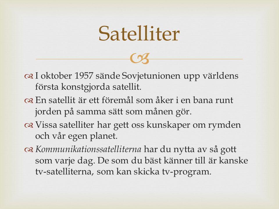   I oktober 1957 sände Sovjetunionen upp världens första konstgjorda satellit.