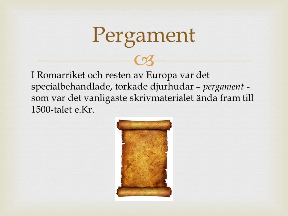  Pergament I Romarriket och resten av Europa var det specialbehandlade, torkade djurhudar – pergament - som var det vanligaste skrivmaterialet ända fram till 1500-talet e.Kr.