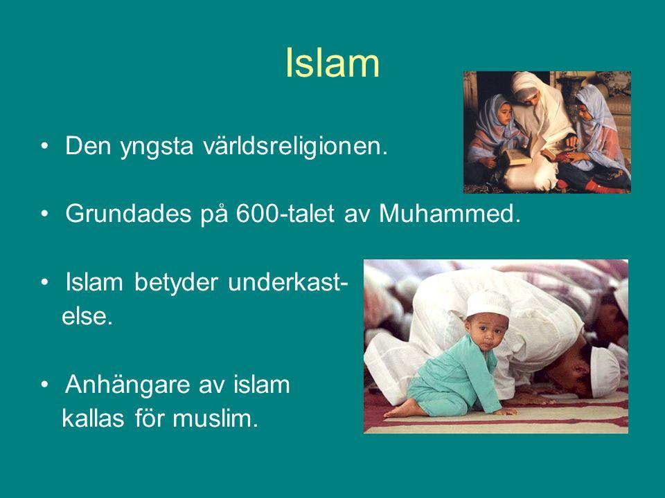 Islam Den yngsta världsreligionen. Grundades på 600-talet av Muhammed.