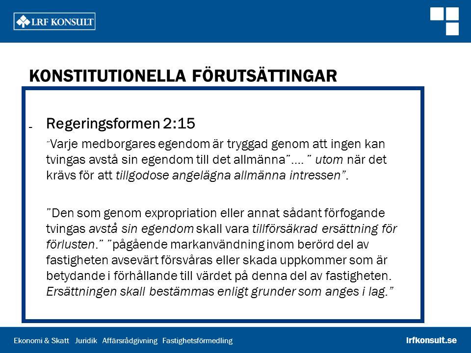 """Ekonomi & Skatt Juridik Affärsrådgivning Fastighetsförmedling lrfkonsult.se KONSTITUTIONELLA FÖRUTSÄTTINGAR ₋ Regeringsformen 2:15 """" Varje medborgares"""