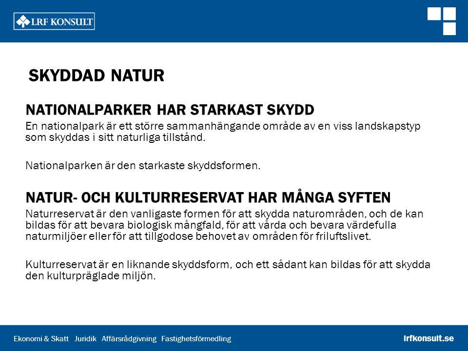 Ekonomi & Skatt Juridik Affärsrådgivning Fastighetsförmedling lrfkonsult.se SKYDDAD NATUR NATURA 2000 FINNS I HELA EU Natura 2000 är ett nätverk av värdefulla naturområden inom EU.