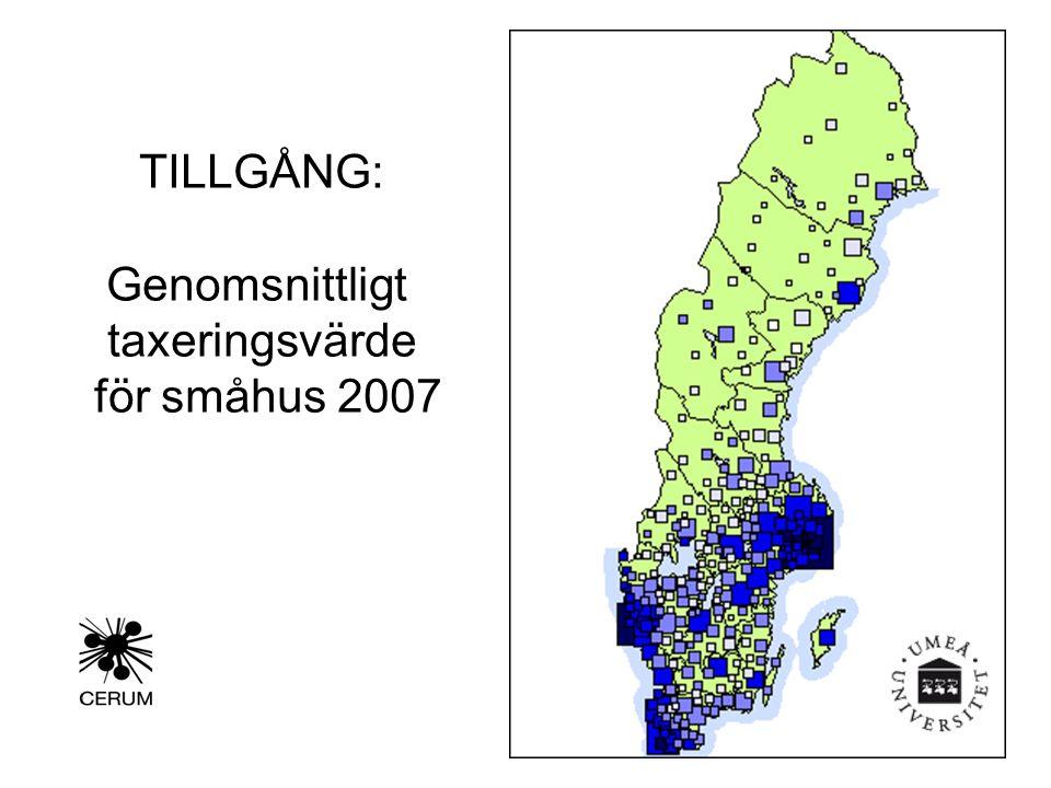 TILLGÅNG: Genomsnittligt taxeringsvärde för småhus 2007