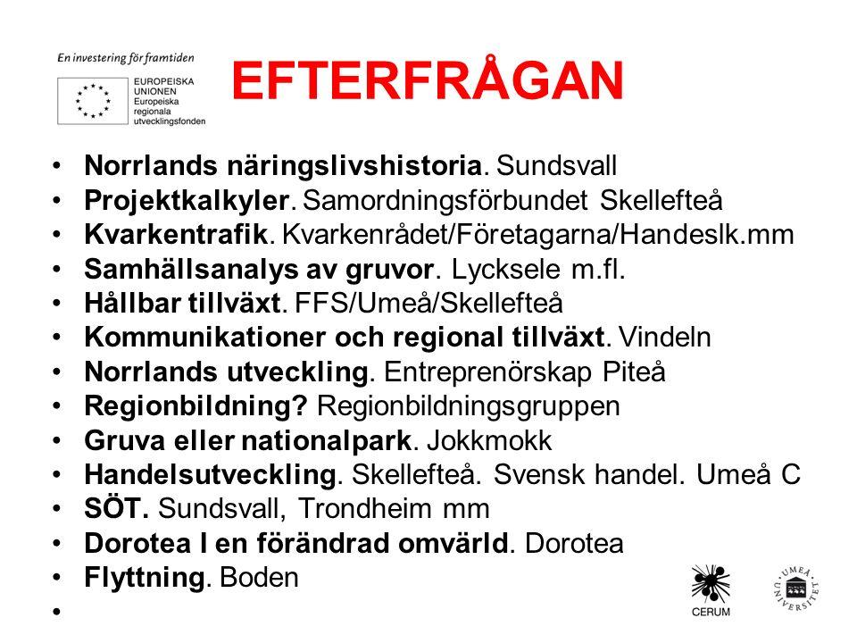 EFTERFRÅGAN Norrlands näringslivshistoria. Sundsvall Projektkalkyler.