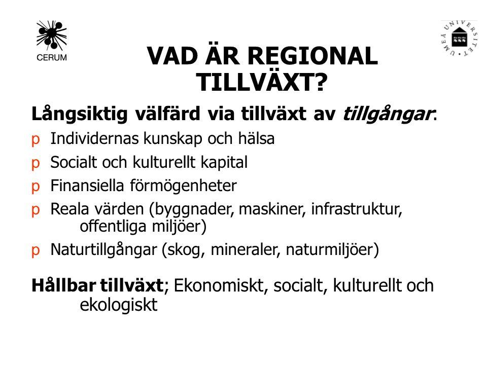 VAD ÄR REGIONAL TILLVÄXT.