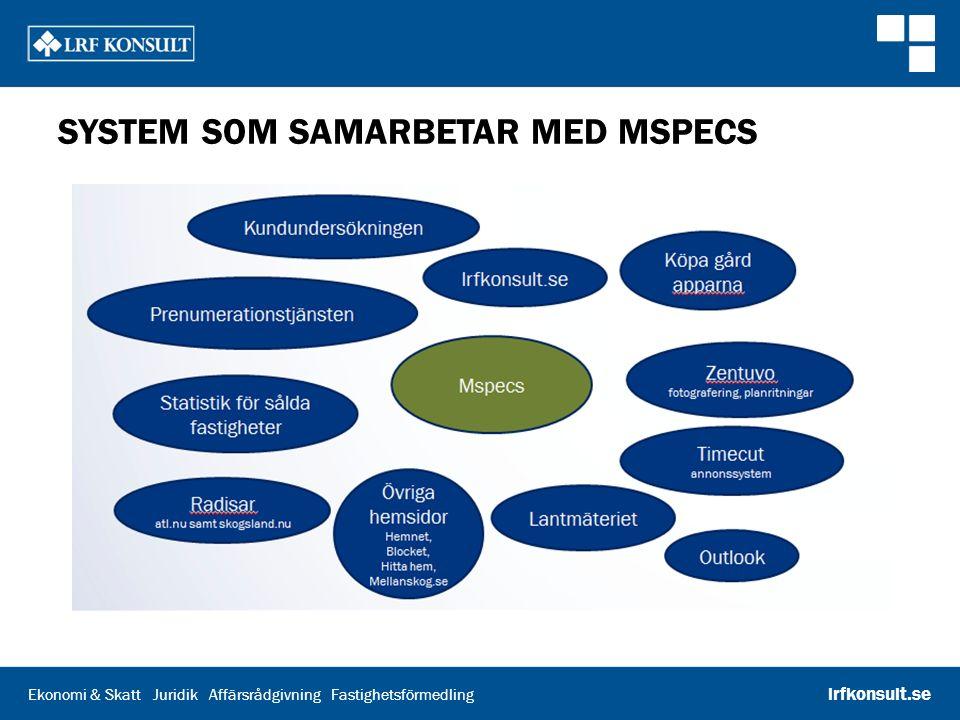 Ekonomi & Skatt Juridik Affärsrådgivning Fastighetsförmedling lrfkonsult.se SYSTEM SOM SAMARBETAR MED MSPECS
