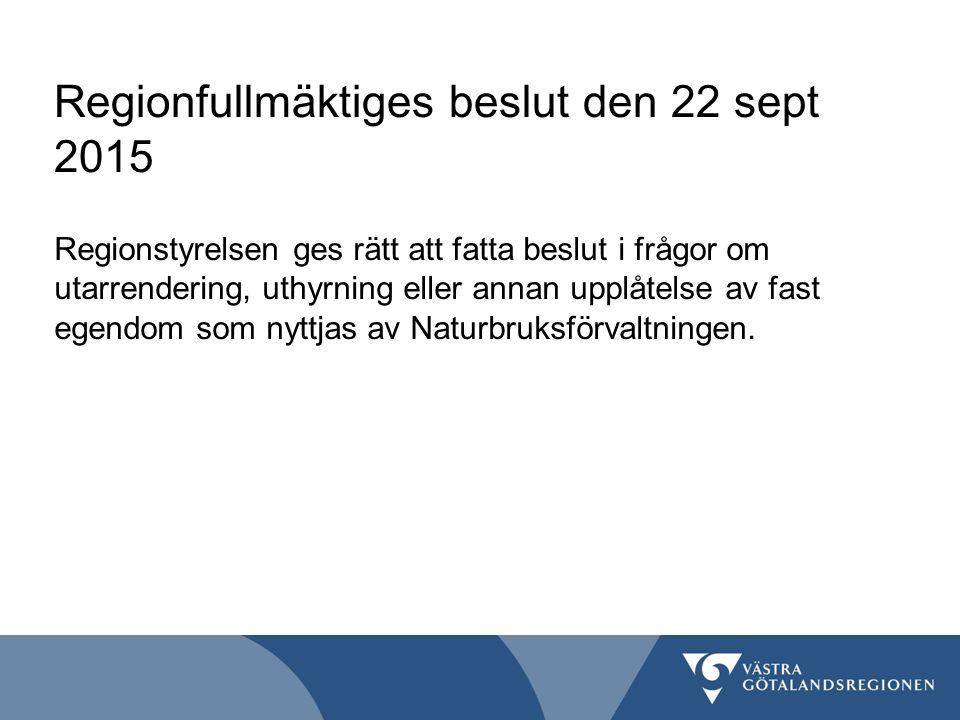 Regionfullmäktiges beslut den 22 sept 2015 Regionstyrelsen ges rätt att fatta beslut i frågor om utarrendering, uthyrning eller annan upplåtelse av fa
