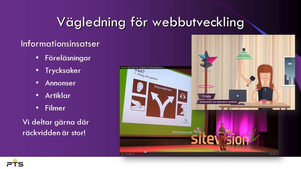 Vägledning för webbutveckling Informationsinsatser Föreläsningar Trycksaker Annonser Artiklar Filmer Vi deltar gärna där räckvidden är stor!