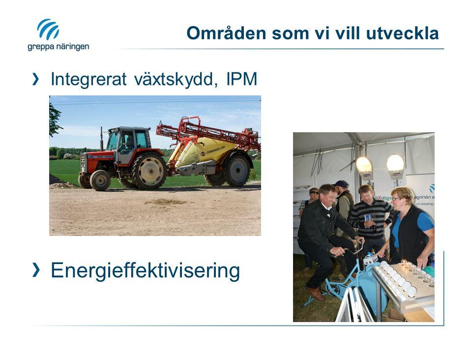 Områden som vi vill utveckla Integrerat växtskydd, IPM Energieffektivisering