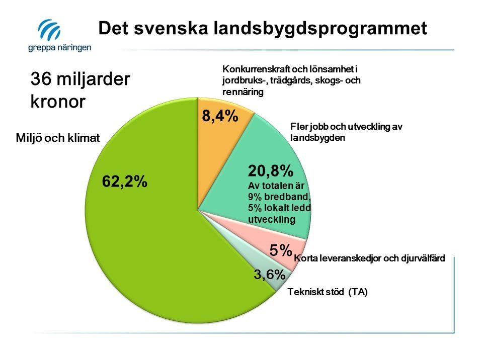 Fler jobb och utveckling av landsbygden Konkurrenskraft och lönsamhet i jordbruks-, trädgårds, skogs- och rennäring Miljö och klimat 62,2% 20,8% Av totalen är 9% bredband, 5% lokalt ledd utveckling Korta leveranskedjor och djurvälfärd Det svenska landsbygdsprogrammet Tekniskt stöd 8,4% 5% 3,6% Tekniskt stöd (TA) 36 miljarder kronor
