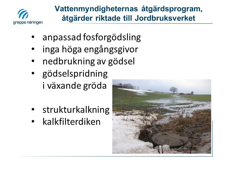 Vattenmyndigheternas åtgärdsprogram, åtgärder riktade till Jordbruksverket skyddszoner obrukade kantzoner anpassade skyddszoner våtmarker fosfordammar tvåstegsdiken
