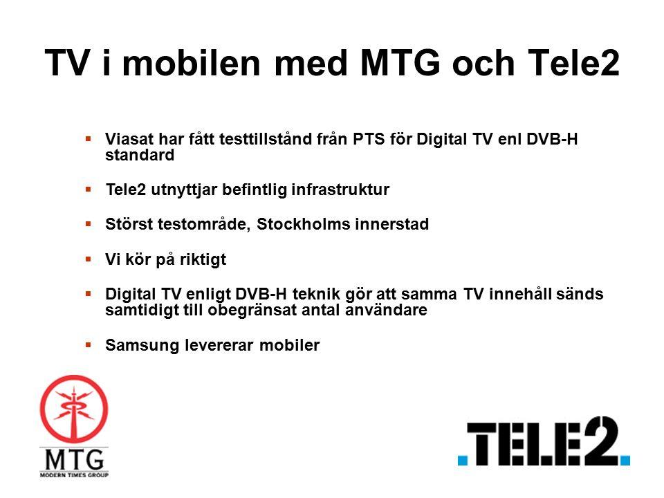 TV i mobilen med MTG och Tele2  Viasat har fått testtillstånd från PTS för Digital TV enl DVB-H standard  Tele2 utnyttjar befintlig infrastruktur 