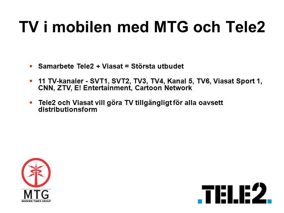 TV i mobilen med MTG och Tele2  Samarbete Tele2 + Viasat = Största utbudet  11 TV-kanaler - SVT1, SVT2, TV3, TV4, Kanal 5, TV6, Viasat Sport 1, CNN, ZTV, E.